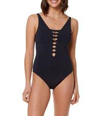 women's bleu by rod beattie twister one-piece swimsuit