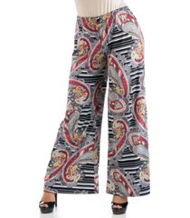 24seven comfort apparel women's plus size paisley palazzo pants