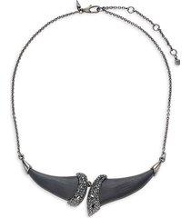 alexis bittar women's gunmetal-tone, black crystal & lucite bib necklace
