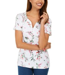 karen scott printed henely top, created for macy's