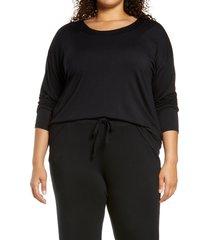 plus size women's nordstrom moonlight dream pajama top, size 3x - black