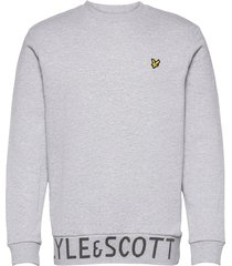 bottom branded crew neck sweat-shirt trui grijs lyle & scott