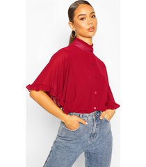 woven ruffle sleeve tunic blouse, berry
