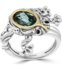 effy green quartz (2-1/20 ct. t.w.) & onyx frog ring in sterling silver & 18k gold-plate