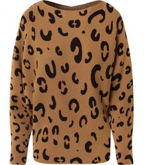 leopard oversized trui camel