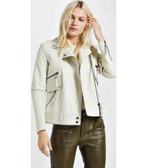 jaqueta de couro motor biker branco hall