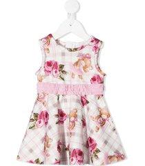 monnalisa teddy bear rose print ruffle detail dress - pink
