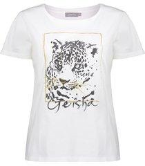geisha 12394-25 010 t-shirt glittertiger s/s off-white