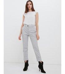 motivi pantaloni a sigaretta con risvolto donna grigio