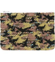 coohem knit tweed camouflage pouch - green
