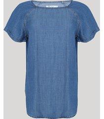 blusa jeans feminina manga curta decote redondo azul médio