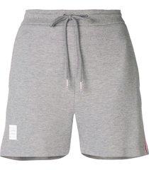 thom browne rwb stripe piqué shorts - grey