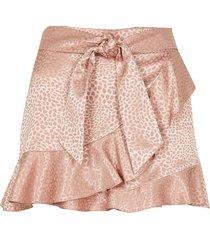 river island womens petite pink animal print frill hem shorts