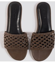 na-kd shoes braided slip in sandals - brown