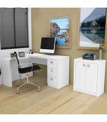 escritório completo áustria branco - tecno mobili