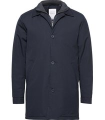 arctic canvas jacket with buttons - trenchcoat lange jas blauw knowledge cotton apparel