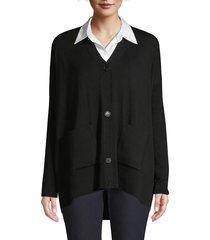lafayette 148 new york women's oversized merino wool cardigan sweater - black - size xxs