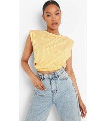 gestreept t-shirt met schouderpads en elastische zoom, mustard