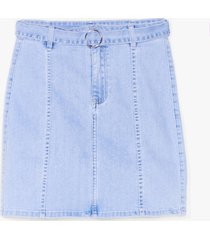 womens won't wash with us belted mini skirt - blue