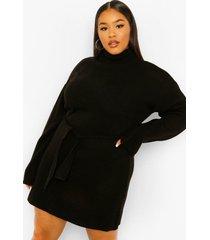 plus trui jurk met hoge hals en ceintuur, black