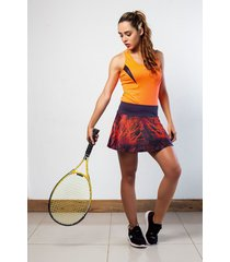 falda deportiva con fit interno marca mia r-7802 gris   /  naranja