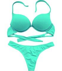 biquíni bojo bolha alça estreita divance verde água calcinha fio dental