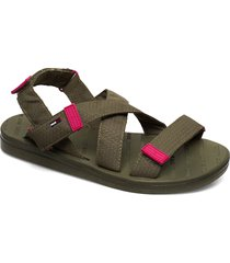 tommy surplus flat sandal shoes summer shoes flat sandals grön tommy hilfiger