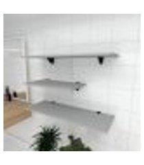 kit 3 prateleiras banheiro em mdf suporte tucano cinza 1 60x30cm 2 90x30cm modelo pratbnc13