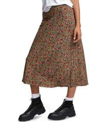 rvca juniors' annika high-waisted slip skirt