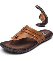 sandali infradito da spiaggia in cuoio impermeabile con cucito