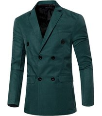 flap-pocket design casual lapel collar double breasted blazer for men