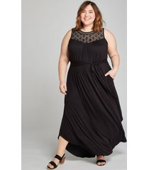 lane bryant women's crochet-yoke fit & flare maxi dress 18/20 black