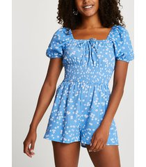 river island womens blue floral puff sleeve playsuit