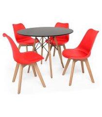 kit mesa jantar eiffel 90cm preta + 04 cadeiras leda - vermelha