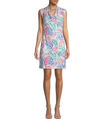 leaf print a-line dress