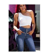 sexy hoge taille capri-driekwarts jeans met knopen blauw