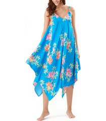 women's tommy bahama sun lilies scarf dress cover-up, size large/x-large - blue