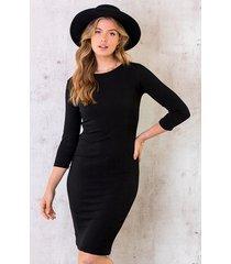 rib stretch jurk zwart