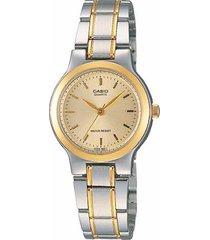 reloj casio ltp-1131g-9a análogo bicolor para mujer