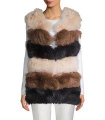 la fiorentina women's dyed fox fur bubble vest - black grey - size s/m