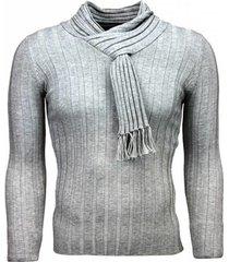 trui justing casual trui - sjaalkraag design strepen motief - licht