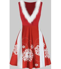 christmas snowflake print faux fur sleeveless dress