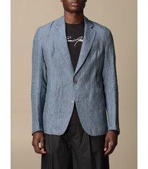 emporio armani blazer emporio armani single-breasted jacket in faded linen