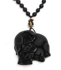 collana degli uomini dell'annata collana elephant hand-carved obsidian naturale cinese