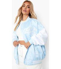 plus oversized satijnen madison beer letterman jas, blue