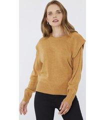 sweater hombreras camel corona