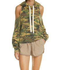 nsf clothing tricia camo cold shoulder open back hoodie, size large in dyed painted destroyed at nordstrom