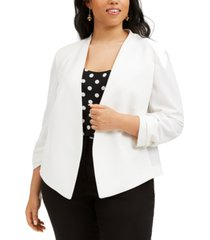bar iii trendy plus size ruched-sleeve jacket, created for macy's