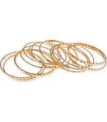 style & co gold-tone 15-pc. set woven & textured bangle bracelets, created for macy's