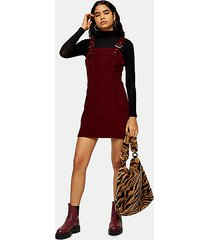 corduroy buckle mini dress - burgundy